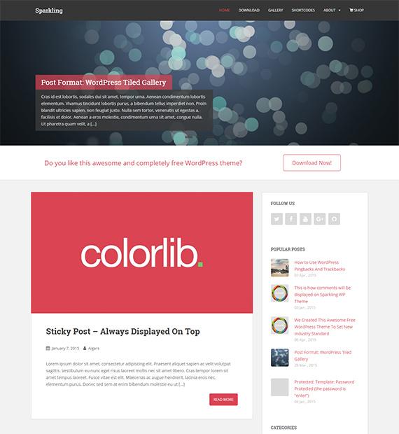 Sparkling-free-WP-blog-theme