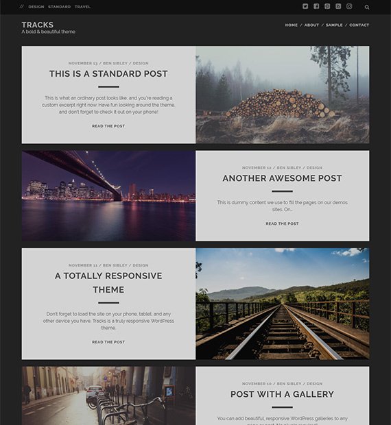 Tracks-free-WP-blog-theme