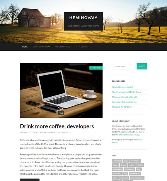 Hemingway-wordpress-blog-theme-free