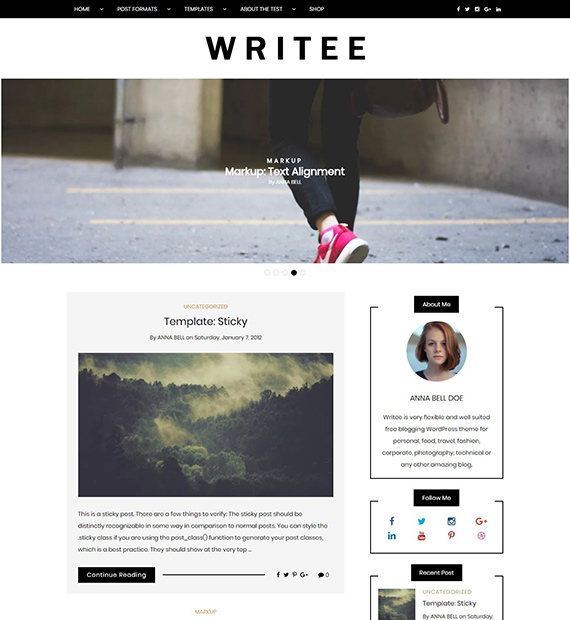 Writee-free-WP-blog-theme