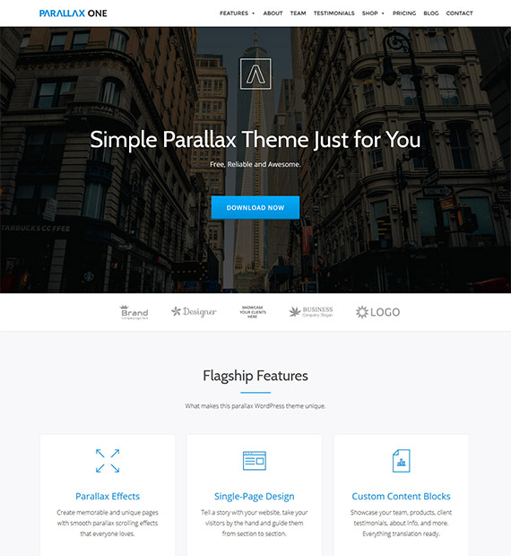 Parallax One: WordPress One Page Business Theme - Beautiful Themes