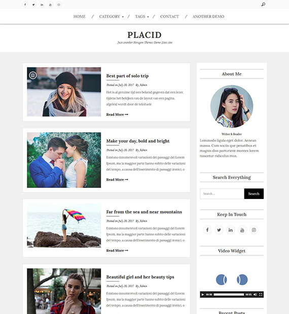 Placid-WordPress-Blog-Theme