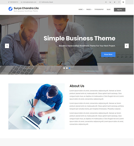 Surya Chandra Lite-Free Multipurpose WordPress Theme