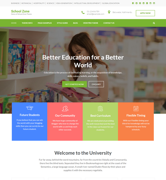 WordPress-Business-theme-School-Zone