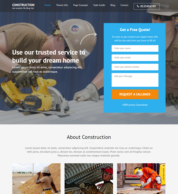 WordPress-Business-theme-construction-landing-page
