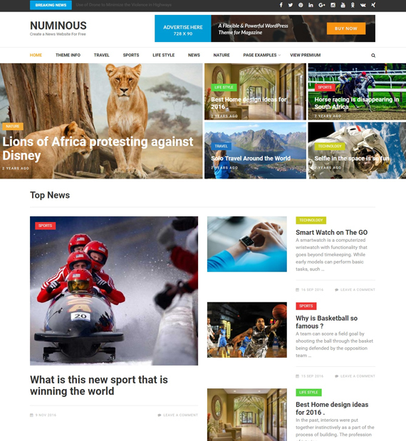 wordpress Magazine theme numinous