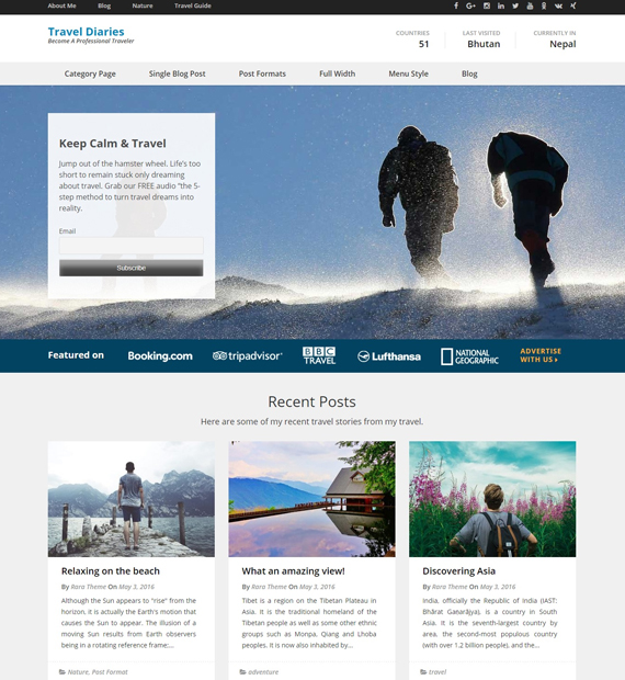 wordpress blog theme travel diaries