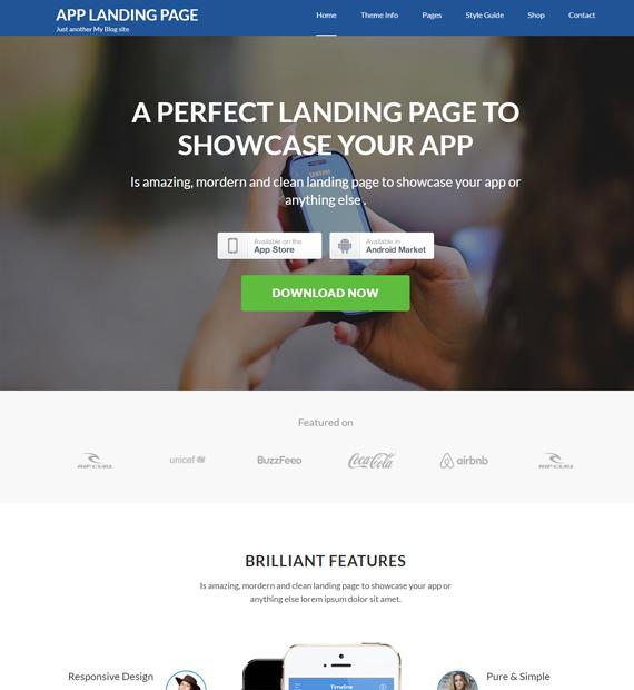 wordpress-landing page theme app landing page