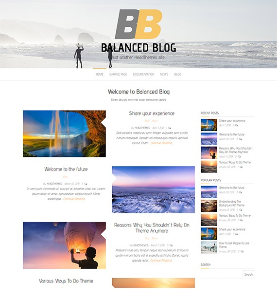 Balanced Blog WordPress Blog Theme