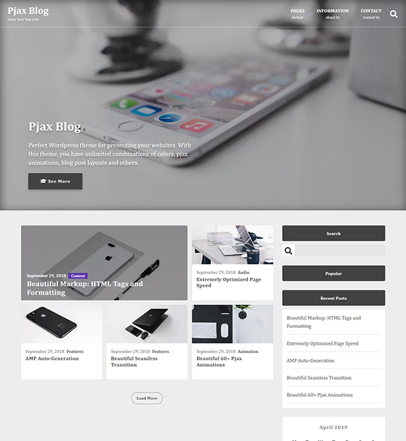pjax-blog-wordpress-blogging-theme