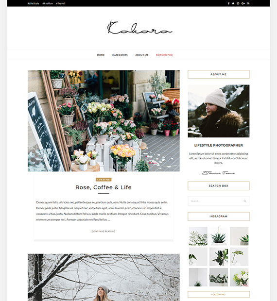 Kokoro WordPress Blogging Theme