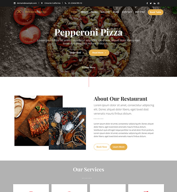 Restaurant Recipe WordPress Restaurant Theme