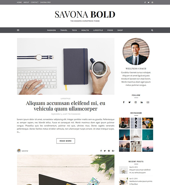 Savona Bold WordPress Multipurpose Theme