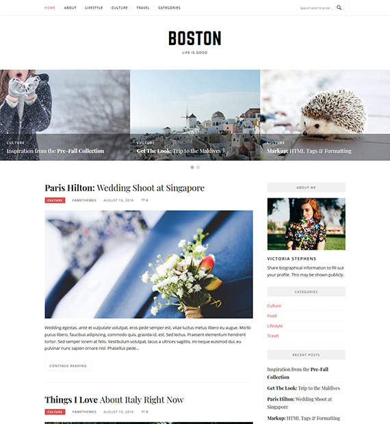 Boston WordPress Blogging Theme