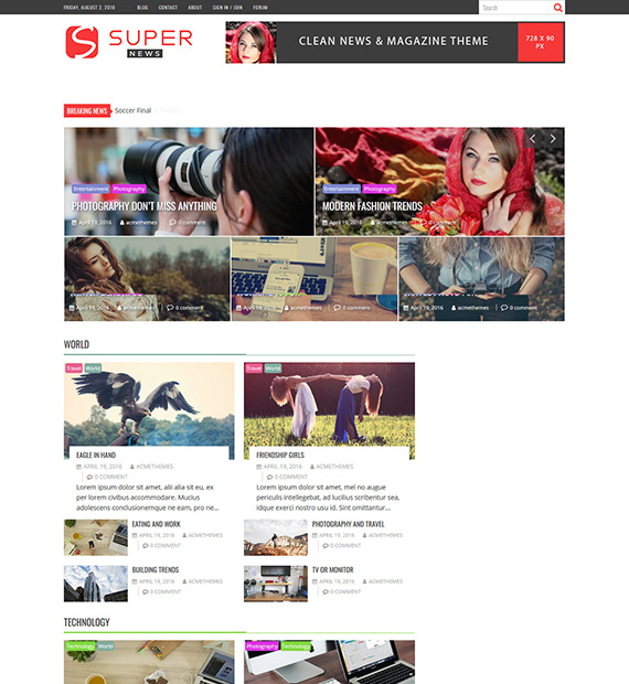 supernews wordpress magazine theme